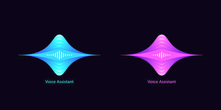 Soundwave shape for virtual voice assistant. Abstract acoustic wave and equalizer, voice message of smart assistant, audio waveform. Vector element for voice control in mobile interface