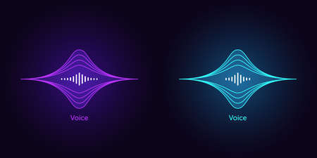 Outlined soundwave shape for virtual voice assistant. Abstract acoustic wave and equalizer, neon voice vibration, audio waveform silhouette. Vector element for voice control in mobile interface