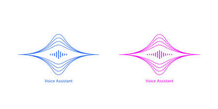 Outlined soundwave shape for virtual voice assistant. Abstract acoustic wave and equalizer, voice vibration, audio waveform silhouette. Vector element for voice control in mobile interface Illusztráció