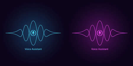 Sound wave shape with microphone for virtual voice assistant. Abstract audio wave, voice search and control, acoustic line waveform. Vector element for voice command in mobile interface Illusztráció