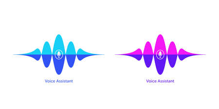 Sound wave shape with microphone for virtual voice assistant. Abstract audio wave, voice search and control, acoustic waveform. Vector element for voice command in mobile interface Illusztráció