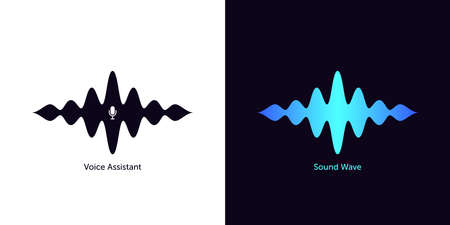 Sound wave shape with microphone for virtual voice assistant. Abstract audio wave, voice command control, acoustic waveform with gradient. Vector element for mobile interface