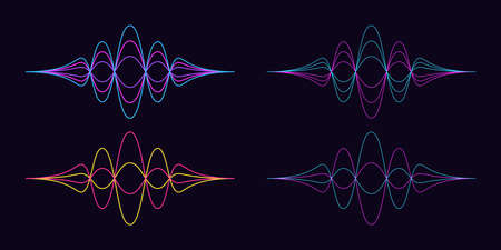 Sound wave shape. Set of abstract audio wave, acoustic line waveform. Soundwave vibration and wavy equalizer. Isolated vector elements for voice assistant in mobile interface