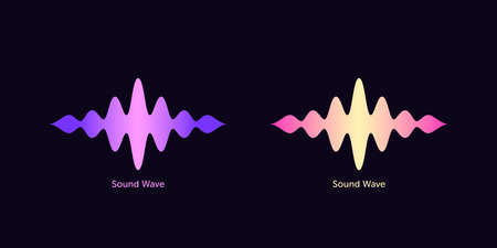 Sound wave shape for virtual voice assistant. Abstract audio wave, voice command control, acoustic waveform with gradient. Music equalizer, vector element for mobile interface