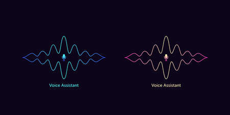 Outlined sound wave shape with microphone for voice recognition. Abstract audio wave silhouette, voice command control, line acoustic waveform. Vector element for virtual assistant in mobile interface Illusztráció