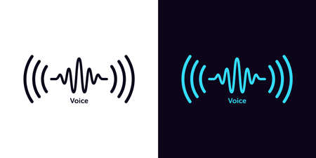 Sound wave icon for voice recognition in virtual assistant, speech signal. Abstract audio wave, voice command control, outline acoustic waveform. Vector element for mobile app with voice interface