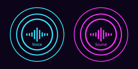 Sound wave icon for voice recognition in virtual assistant. Abstract audio wave, voice command control, outline round acoustic waveform. Vector element for mobile app with voice interface