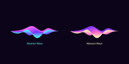 Abstract wave shape for voice recognition system, virtual assistant speech. Gradient audio wave, voice command control, futuristic waveform. Vector UI element for mobile app with voice interface