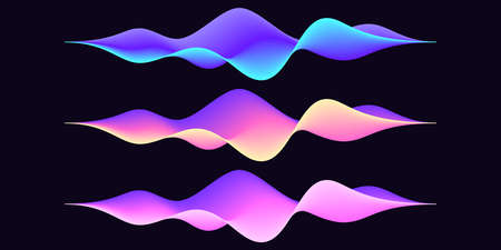 Set of abstract wave shape for voice recognition system, futuristic waveform for virtual assistant. Gradient audio wave, voice command control. Vector UI element for mobile app with voice interface 矢量图像