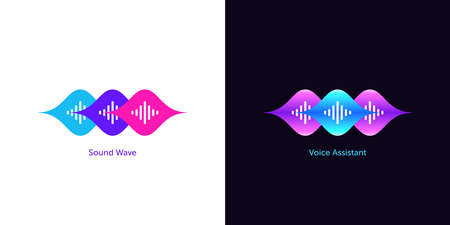 Sound wave shape for voice assistant. Abstract wave, voice recognition and search, speech of smart assistant. Vector element for voice activation in mobile interface, audio waveform