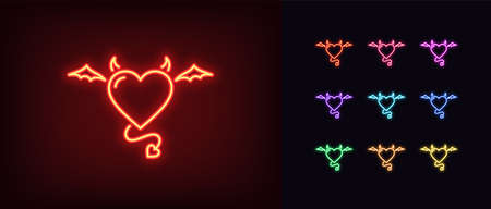 Neon devil heart, glowing icon. Neon demon heart with wings, tail and horns. Flying evil love in vivid colors. Demonic passion love in the hell. Icon set, sign, symbol for UI. Vector illustration