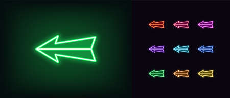 Neon arrow icon. Glowing neon pointer sign, straight arrow in vivid colors. Retro navigation, arrow direction forward back down up. Icon set, sign, symbol for UI. Vector illustration 矢量图像