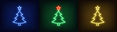 Set of neon Christmas tree with star, glowing icon. Neon New Year tree silhouette, outline Christmas tree in blue, green and yellow colors. Festive fir with neon light. Vector illustration