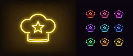 Neon chef hat, glowing icon. Neon chef cap with star, bakery rating in vivid colors. Kitchen review, favorite restaurant, best cook, top confectionery. Icon set, sign, symbol. Vector illustration