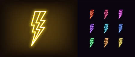 Neon lightning icon. Glowing neon electric thunderstorm sign, electrical discharge in vivid colors. Bright thunderbolt, electric bolt, high voltage. Icon set, sign, symbol for UI. Vector illustration
