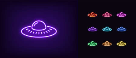 Neon alien UFO, glowing icon. Neon alien spacecraft, UFO spaceship in vivid colors. Space invasion, martian ship, unidentified flying object. Icon set, sign, symbol for UI. Vector illustration