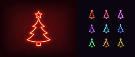 Neon Christmas tree with star, glowing icon. Neon New Year tree silhouette, outline Christmas tree in vivid colors. Festive fir with neon light. Icon set, sign, symbol for UI. Vector illustration 矢量图像