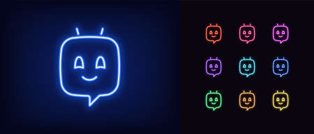 Neon chat bot, glowing icon. Neon voice assistant, virtual chatbot in shape of message bubble. Virtual sound assistant for messenger and mobile app. Icon set, sign, symbol for UI. Vector illustration