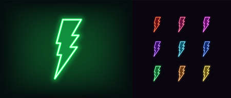 Neon lightning bolt icon. Glowing neon thunder flash sign, electrical discharge in vivid colors. Bright thunderbolt, electric storm, high voltage. Icon set, sign, symbol for UI. Vector illustration