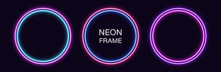 Neon circle Frame. Set of round neon Border with double outline. Geometric shape with copy space, futuristic graphic element for social media stories. Blue, pink, purple, violet. Fully Vector 矢量图像