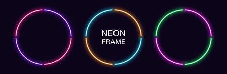 Neon circle Frame. Set of round neon Border in 4 outline parts. Geometric shape with copy space, futuristic graphic element for social media stories. Violet, pink, orange, azure. Fully Vector 矢量图像