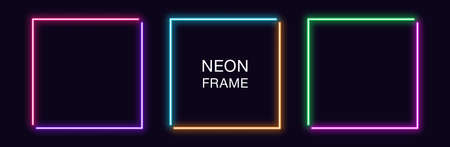 Neon square Frame. Set of quadrate neon Border in 2 angular parts. Geometric shape with copy space, futuristic glowing element for social media stories. Purple, pink, orange, azure. Fully Vector 矢量图像