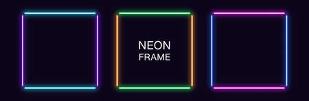Neon square Frame. Set of quadrate neon Border in 4 outline parts. Geometric shape with copy space, futuristic glowing element for social media stories. Violet, blue, purple, green. Fully Vector