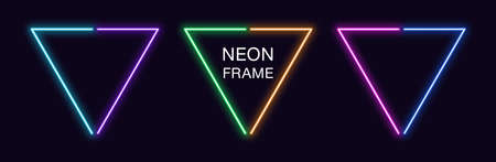 Neon triangle Frame. Set of triangular neon Border in 2 outline parts. Geometric shape with copy space, futuristic glowing element for social media stories. Violet, blue, purple, green. Fully Vector