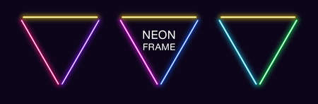 Neon triangle Frame. Set of triangular neon Border in 3 outline parts. Geometric shape with copy space, futuristic glowing element for social media stories. Yellow, blue, purple, violet. Fully Vector 矢量图像