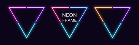 Neon triangle Frame. Set of triangular neon Border in 3 angular parts. Geometric shape with copy space, futuristic glowing element for social media stories. Blue, pink, purple, violet. Fully Vector