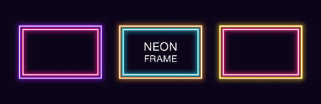 Neon rectangle Frame. Set of rectangular neon Border with double outline. Vector geometric shape with copy space, futuristic glowing element for social media stories. Yellow, pink, orange, azure