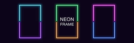 Neon rectangle Frame. Set of rectangular neon Border in 2 outline parts. Vector geometric shape with copy space, futuristic glowing element for social media stories. Violet, blue, purple, green
