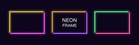 Neon rectangle Frame. Set of rectangular neon Border in 2 angular parts. Vector geometric shape with copy space, futuristic glowing element for social media stories. Yellow, purple, orange, green