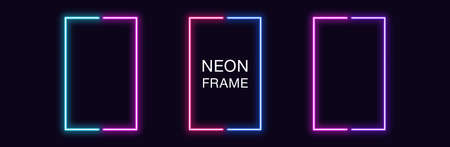 Neon rectangle Frame. Set of rectangular neon Border in 2 outline parts. Geometric shape with copy space, futuristic glowing element for social media stories. Blue, pink, purple, violet. Fully Vector 矢量图像