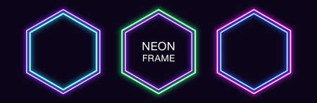 Neon hexagon Frame. Set of hexagonal neon Border with double outline. Geometric shape with copy space, futuristic glowing element for social media stories. Violet, blue, purple, green. Fully Vector