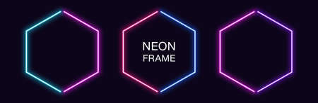 Neon hexagon Frame. Set of hexagonal neon Border in 2 outline parts. Geometric shape with copy space, futuristic glowing element for social media stories. Blue, pink, purple, violet. Fully Vector 矢量图像