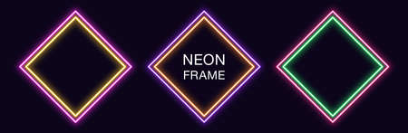 Neon rhomb Frame. Set of rhombus neon Border with double outline. Geometric shape with copy space, futuristic glowing element for social media stories. Yellow, purple, orange, green. Fully Vector 矢量图像