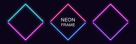 Neon rhomb Frame. Set of rhombus neon Border in 2 angular parts. Geometric shape with copy space, futuristic glowing element for social media stories. Blue, pink, purple, violet. Fully Vector 矢量图像