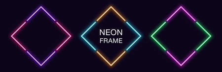 Neon rhomb Frame. Set of rhombus neon Border in 4 angular parts. Geometric shape with copy space, futuristic glowing element for social media stories. Violet, pink, orange, azure. Fully Vector 矢量图像