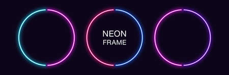 Neon circle Frame. Set of round neon Border in 2 outline parts. Geometric shape with copy space, futuristic graphic element for social media stories. Blue, pink, purple, violet. Fully Vector