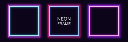 Neon square Frame. Set of quadrate neon Border with double outline. Geometric shape with copy space, futuristic graphic element for social media stories. Blue, pink, purple, violet. Fully Vector