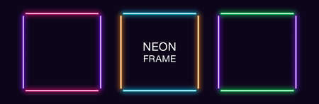 Neon square Frame. Set of quadrate neon Border in 4 outline parts. Geometric shape with copy space, futuristic glowing element for social media stories. Violet, pink, orange, azure. Fully Vector