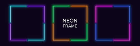 Neon square Frame. Set of quadrate neon Border in 4 angular parts. Geometric shape with copy space, futuristic glowing element for social media stories. Violet, blue, purple, green. Fully Vector 矢量图像