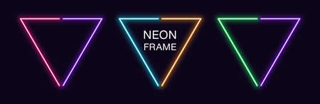 Neon triangle Frame. Set of triangular neon Border in 2 outline parts. Geometric shape with copy space, futuristic glowing element for social media stories. Violet, pink, orange, azure. Fully Vector