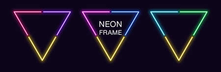 Neon triangle Frame. Set of triangular neon Border in 3 angular parts. Geometric shape with copy space, futuristic glowing element for social media stories. Yellow, blue, purple, violet. Fully Vector