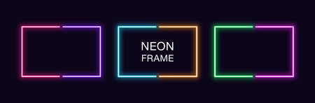 Neon rectangle Frame. Set of rectangular neon Border in 2 outline parts. Vector geometric shape with copy space, futuristic glowing element for social media stories. Violet, pink, orange, azure 矢量图像