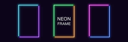 Neon rectangle Frame. Set of rectangular neon Border in 2 angular parts. Vector geometric shape with copy space, futuristic glowing element for social media stories. Violet, blue, purple, green