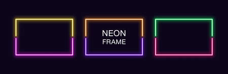 Neon rectangle Frame. Set of rectangular neon Border in 2 outline parts. Vector geometric shape with copy space, futuristic glowing element for social media stories. Yellow, purple, orange, green