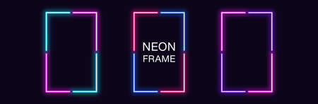 Neon rectangle Frame. Set of rectangular neon Border in 4 angular parts. Geometric shape with copy space, futuristic glowing element for social media stories. Blue, pink, purple, violet. Fully Vector