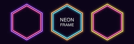 Neon hexagon Frame. Set of hexagonal neon Border with double outline. Geometric shape with copy space, futuristic glowing element for social media stories. Yellow, pink, orange, azure. Fully Vector 矢量图像